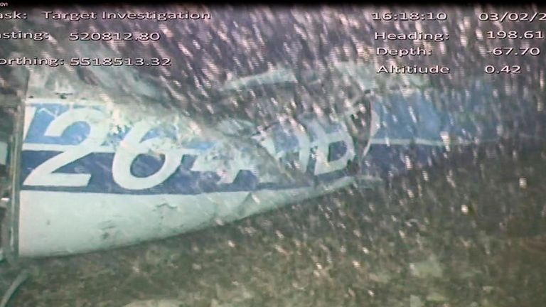 An image released by the UK Air Accidents Investigation Branch (AAIB) showed evidence of aircraft wreckage after the plane went missing