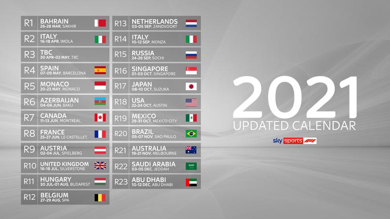 F1 2021 Calendar Formula 1 in 2021: Revised calendar for record 23 race season