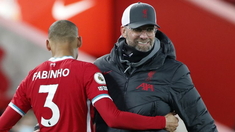 Liverpool v Wolverhampton Wanderers - Premier League - Anfield Liverpool's Fabinho greets Liverpool manager Jurgen Klopp after the final whistle during the Premier League match at Anfield, Liverpool.