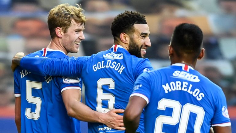 Filip Helander celebrates after scoring to make it 2-0 for Rangers against Ross County