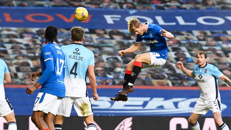 Filip Helander scores to make it 2-0 to Rangers on Saturday in Glasgow