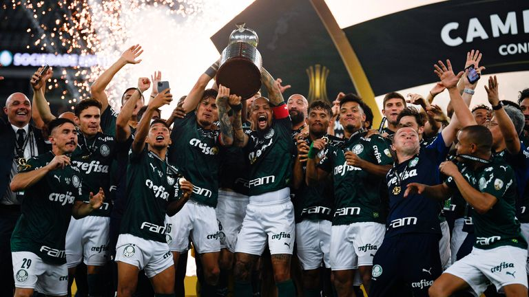 Brazil's Palmeiras celebrate with the trophy after winning the Copa Libertadores final