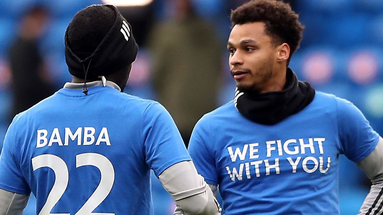 Cardiff City players wear t-shirts in support of Sol Bamba