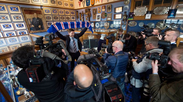 Gerrard says the day he was unveiled as the new Rangers manager will always stick out as a highlight