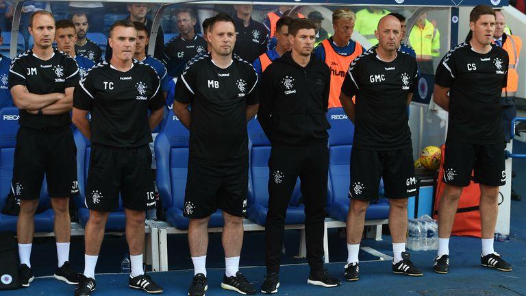Gerrard has praised his coaching staff line up (L-R) Jordan Milsom, Tom Culshaw, Michael Beale, Steven Gerrard, Gary McAllister, Colin Stewart