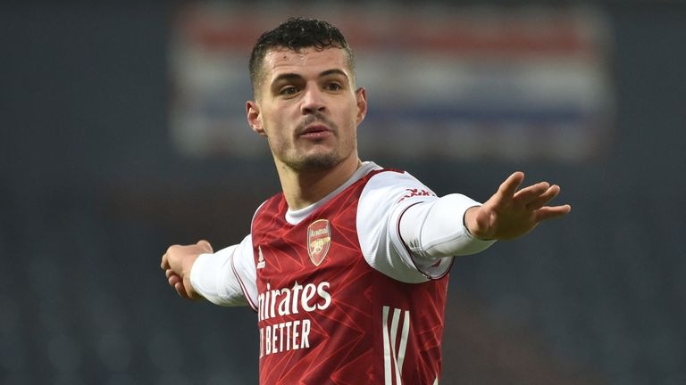 Arsenal...s Granit Xhaka during the English Premier League soccer match between West Bromwich Albion and Arsenal at the Hawthorns stadium in West Bromwich, England, Saturday Jan 2, 2021. (AP Photo/Rui Vieira)..