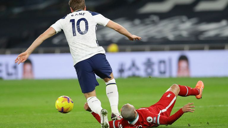 Harry Kane injures his ankle following a tackle from Thiago