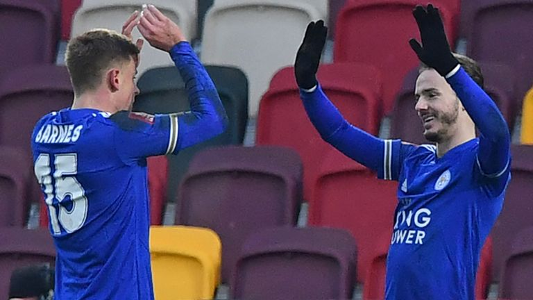 James Maddison celebrates with Harvey Barnes after putting Leicester 3-1 up at Brentford