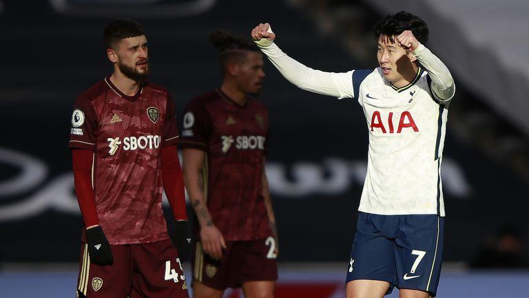 Heung-min Son celebrates scoring Tottenham's second