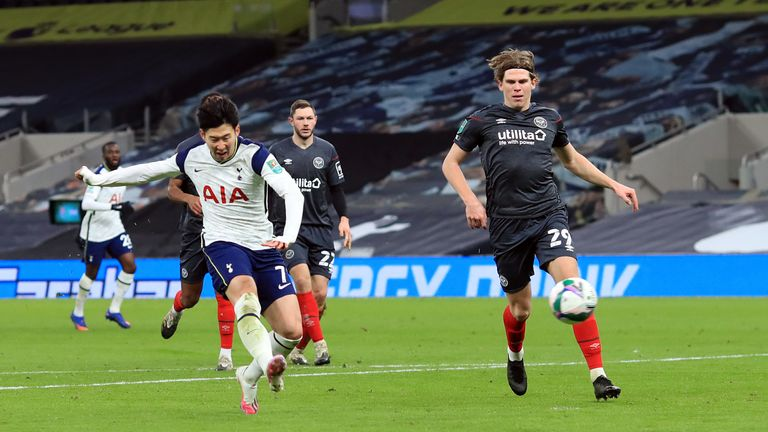 Heung-Min Son scores Tottenham's second goal to ensure the victory