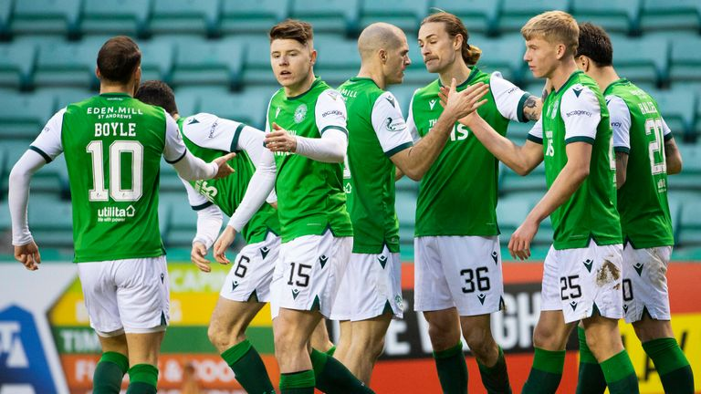 Hibernian players come together to celebrate an own goal from Kilmarnock's Alan Power during a Scottish Premiership match between Hibernian and Kilmarnock at Easter Road