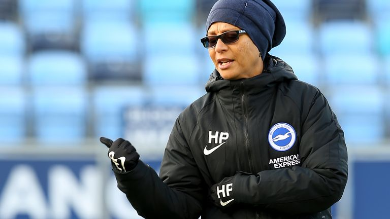 Manchester City v Brighton and Hove Albion - FA Women's Super League - Academy Stadium Brighton and Hove Albion's manager Hope Powell during the FA Women's Super League match at the Academy Stadium, Manchester.