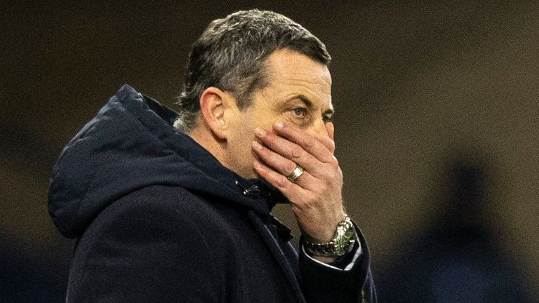 Jack Ross as his Hibs team lose their League Cup semi-final