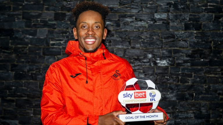 Jamal Lowe has won the Sky Bet Championship Goal of the Month award for December.