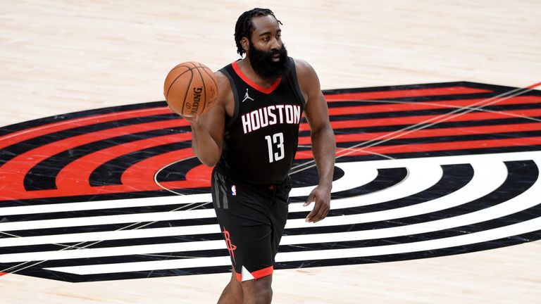 Harden was used to taking centre stage in Houston - can he share top billing in Brooklyn. AP Photo/Steve Dykes