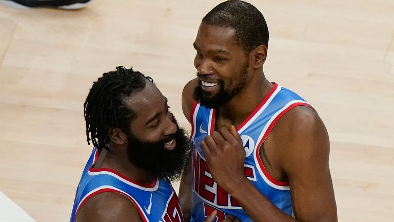 James Harden and Kevin Durant's impressive start to life as Brooklyn Nets teammates continued with a win over Atlanta (AP Photo/Brynn Anderson)