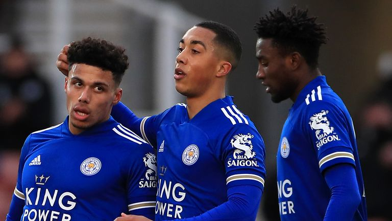 James Justin (left) scored the opening goal as Leicester cruised to victory at Stoke to reach round four