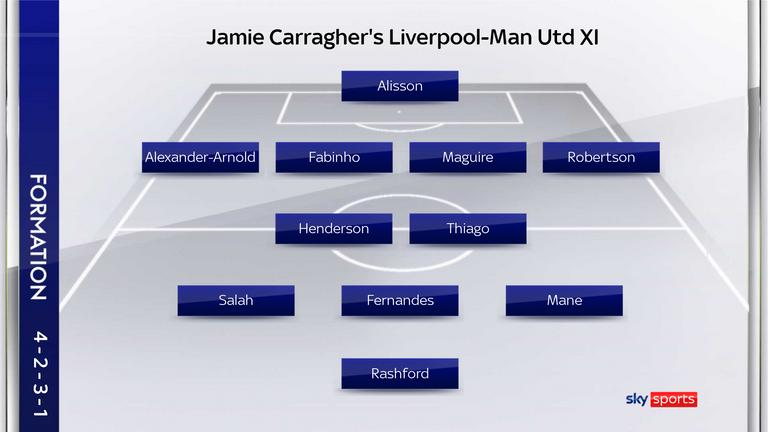Jamie Carragher's Liverpool-Man Utd combined XI