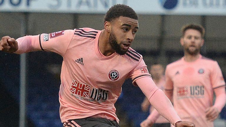 Jayden Bogle shoots at goal during Sheffield United's FA Cup tie with Bristol Rovers