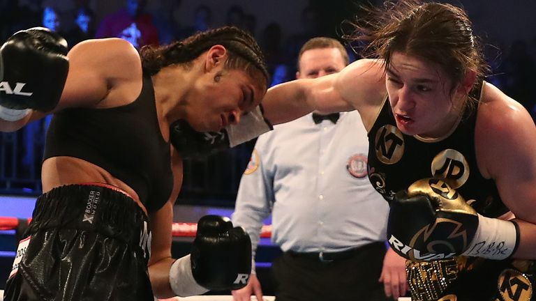 Katie Taylor and Jessica McCaskill during the WBA Lightweight World Championship bout at York Hall, London. PRESS ASSOCIATION Photo. Picture date: Wednesday December 13, 2017. Photo credit should read: Tim Goode/PA Wire