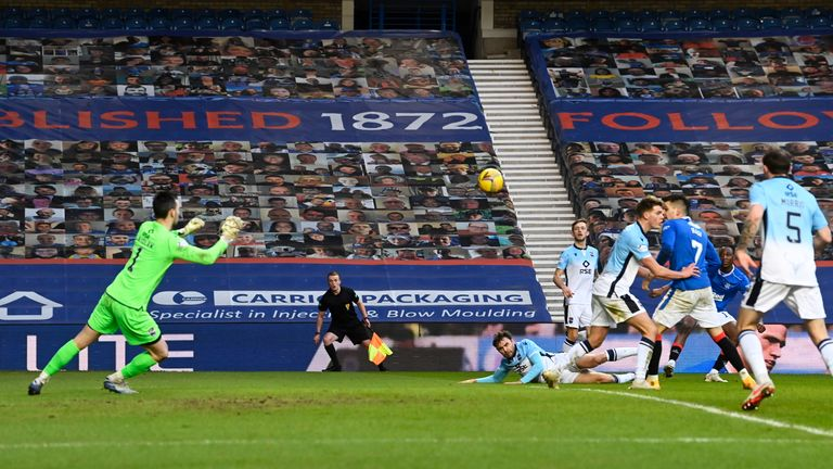 Joe Aribo curls in a third for Rangers before half-time against Ross County