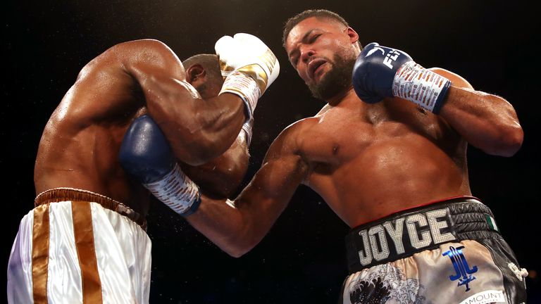 Joe Joyce (right) in action against Bryant Jennings during the WBA Gold Heavyweight Championship at the O2 Arena, London. PRESS ASSOCIATION Photo. Picture date: Saturday July 13, 2019. See PA story BOXING London. Photo credit should read: Nick Potts/PA Wire