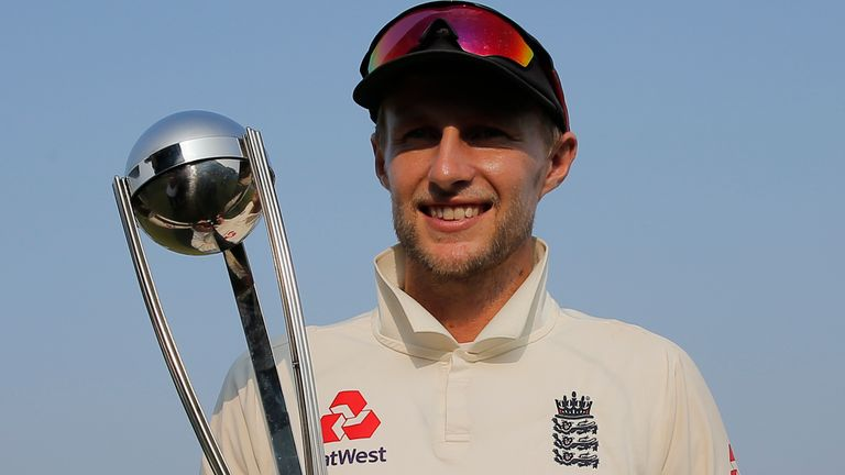England captain Joe Root with the winner's trophy after the third Test against Sri Lanka in Colombo in 2018