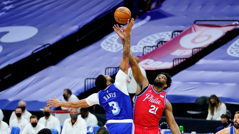Philadelphia 76ers' Joel Embiid plays against Los Angeles Lakers' Anthony Davis