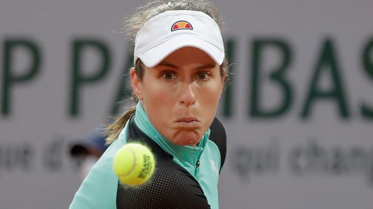 Britain's Johanna Konta plays a shot against Cori Gauff of the U.S. in the first round match of the French Open tennis tournament at the Roland Garros stadium in Paris, France, Sunday, Sept. 27, 2020. (AP Photo/Alessandra Tarantino)