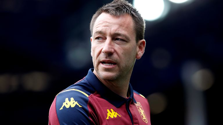 Aston Villa assistant John Terry on the pitch before the Premier League match at Goodison Park, Liverpool.