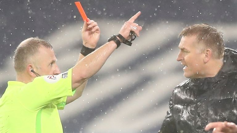 Dean Smith was sent off by Jon Moss  (AP Image)