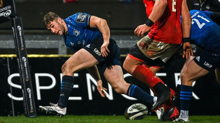 Jordan Larmour scored a crucial late try as Munster lost to Leinster despite dictating most of the contest