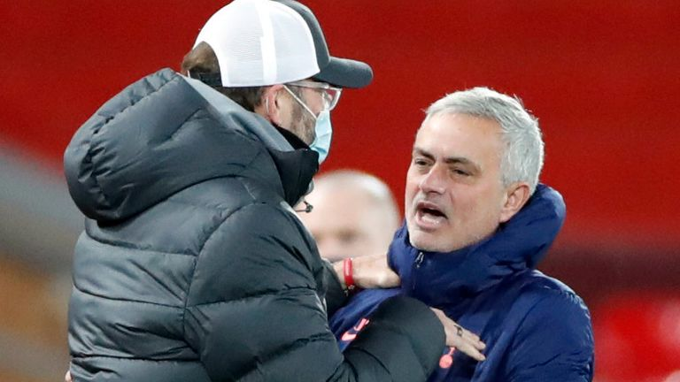 Jurgen Klopp and Jose Mourinho offered opposing views on a mid-season change of the interpretation of offside laws (AP image)