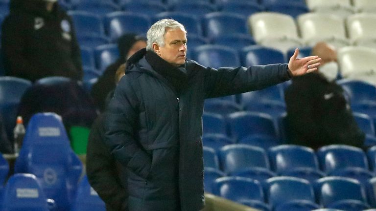 Jose Mourinho issues instructions on the touchline during the Brighton defeat
