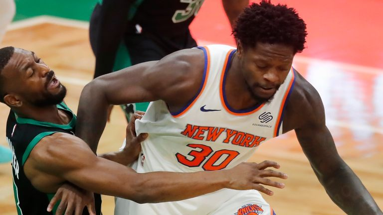 Julius Randle scored 20 points and picked up 12 rebounds as the Knicks routed the Boston Celtics. AP Photo/Michael Dwyer