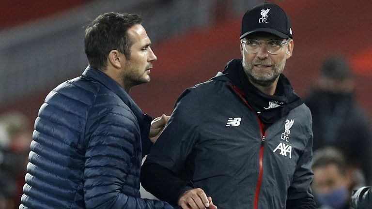 Jurgen Klopp and Frank Lampard at Anfield