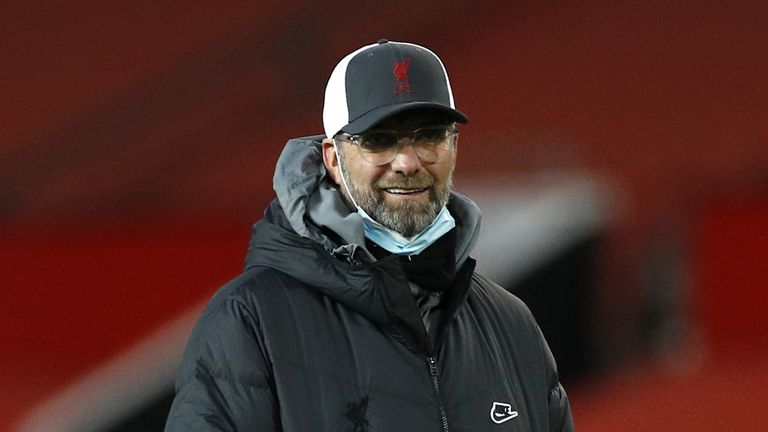 Liverpool manager Jurgen Klopp during the warm up before the Emirates FA Cup fourth round match at Old Trafford, Manchester. Picture date: Sunday January 24, 2021.