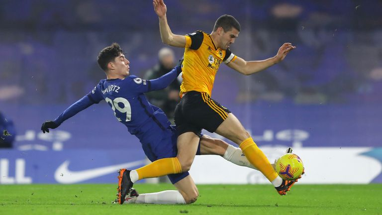 Kai Havertz puts Conor Coady under pressure