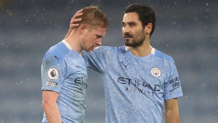 Kevin De Bruyne came off injured in Wednesday's win over Aston Villva