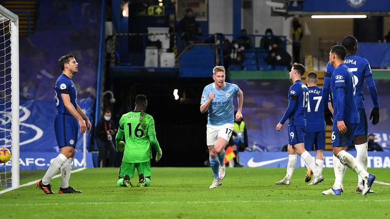 Kevin De Bruyne wheels away after scoring City's third