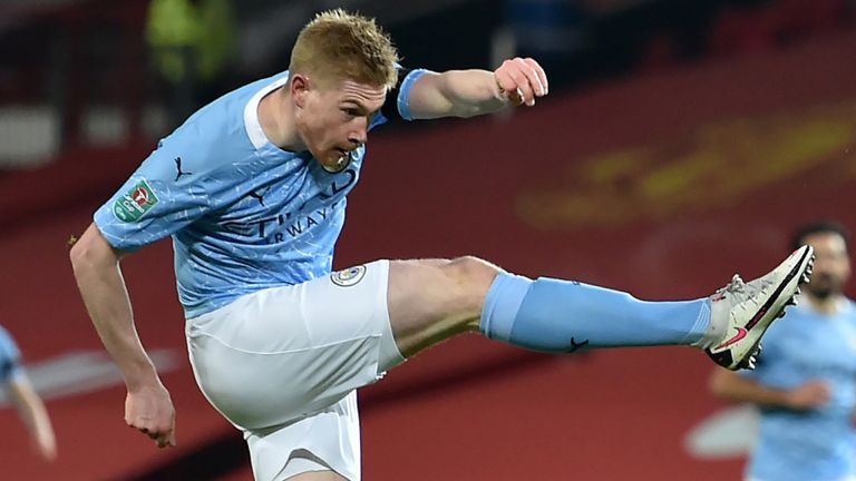 Kevin De Bruyne fires a first-half shot off the post
