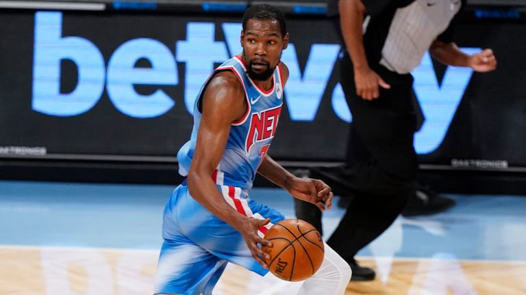 Kevin Durant was the top scorer as the Brookyn marked James Harden's debut with a third successive victory