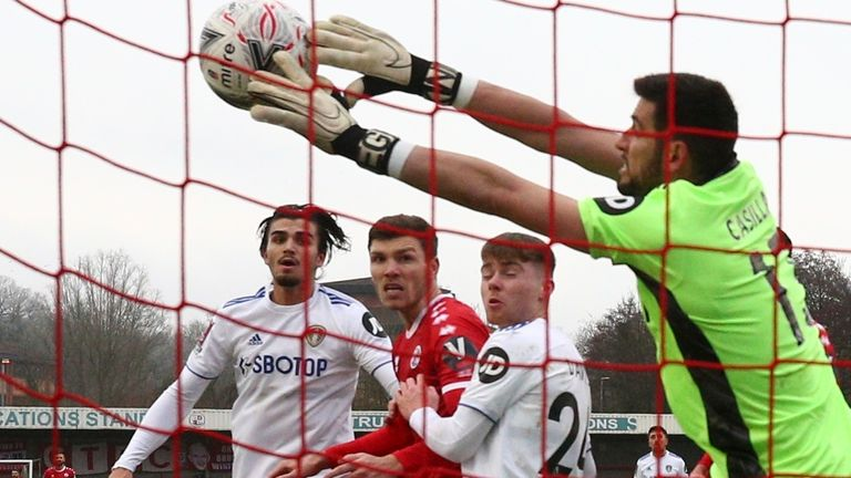 Kiko Casilla in action for Leeds against Crawley (AP)