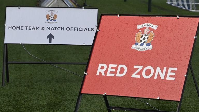 Kilmarnock have coronavirus related signage around their Rugby Park stadium