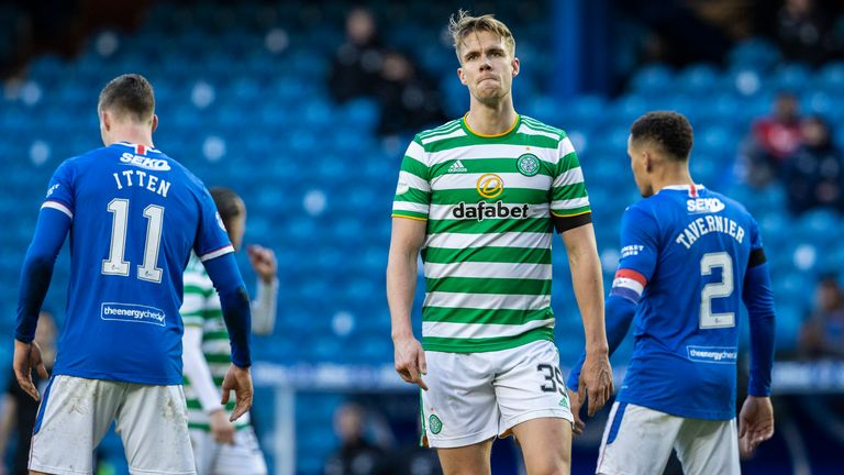 Celtic's Kristoffer Ajer is left dejected during a Scottish Premiership match between Rangers and Celtic at Ibrox Stadium, on January 02, 2021, in Glasgow, Scotland (Photo by Alan Harvey / SNS Group)