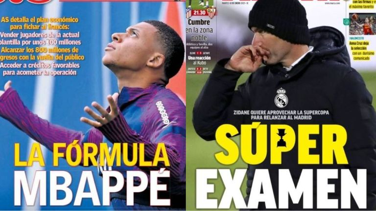 AS run the headline 'Formula Mbappe' on Tuesday with Marca (right) leading with Zinedine Zidane hopes of using the Copa del Rey as a launchpad for Real's season