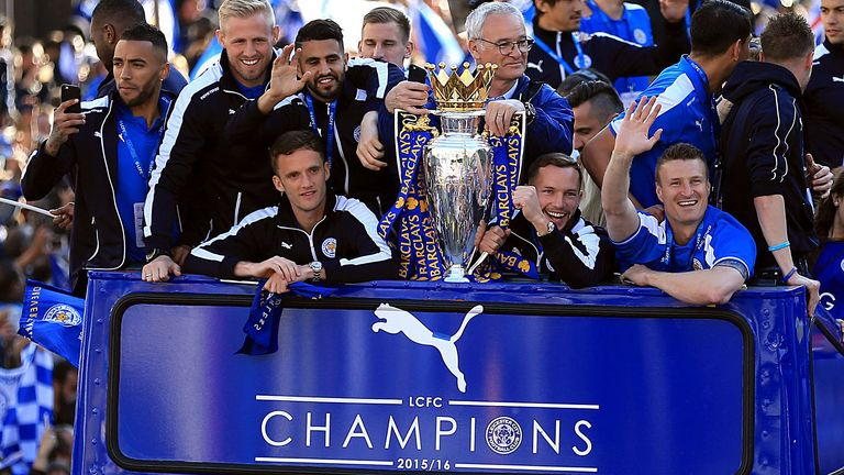 Leicester City's team celebrate on the bus during the open top bus parade through Leicester City Centre. PRESS ASSOCIATION Photo. Picture date: Monday May 16, 2016.