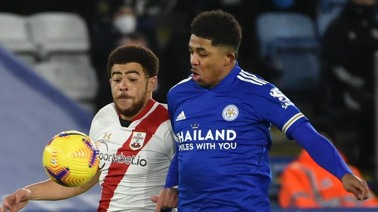Wesley Fofana battles with Che Adams during the Premier League clash