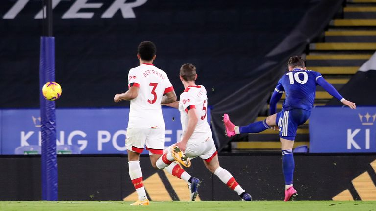 James Maddison scores the opening goa at the King Power Stadium