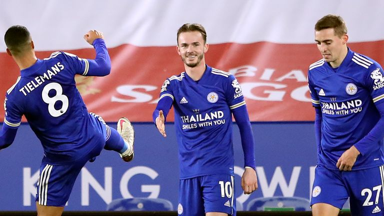 James Maddison celebrates his opening goal but socially distanced